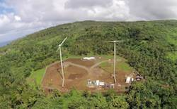 Ariel view of Samoa's first wind farm