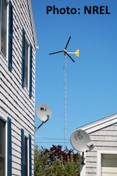 Small wind turbine in Winter Harbor, Maine
