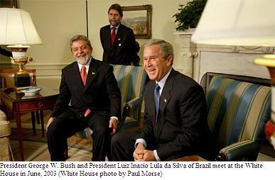 Pres. Bush and Luiz Inacio Lula da Silva