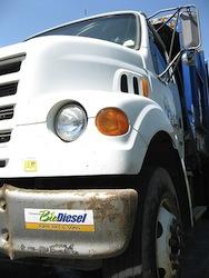 Truck running on biodiesel