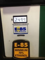 E85 pump price Aug 2013