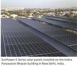 SunPower E Series Solar Panels on rooftop in India
