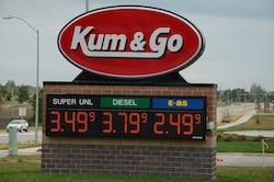 E85 price v regular unleaded gas price
