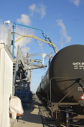 Rail car getting filled with ethanol at Patriot Renewable Fuels biorefinery