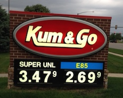 E85 price at Kum and Go in Adel Iowa on June 16 2014