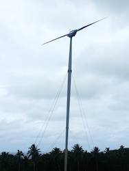 One of the cyclone proof turbines in Soma's first wind farm