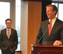 ACE executive VP Brian Jennings smiles as Sen. John Thune (R-SD) speaks at fly-in reception.