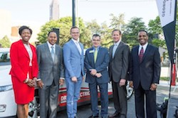 Georgia Power, elected officials and community leaders mark the roll out of Georgia Power's new fleet of EVs. (Left - Right) Latanza Adjei (Vice President of Sales, Georgia Power); Kenny Coleman (Senior Vice President of Marketing, Georgia Power); Michael Beinenson (President, EV Club of the South); Commissioner Tim Echols (Georgia Public Service Commission); Paul Bowers (Chairman, President & CEO of Georgia Power); and Carl Jackson (Electric Transportation Manager, Georgia Power). (PRNewsFoto/Georgia Power)