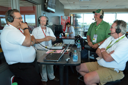 Iowa RFA president Brian Cahill (right) interviewed by KMA radio at American Ethanol 200