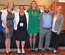BioEnergy 2015 communication panaelists. From left to right: Melissa Savage, Senior Program Director with the National Association of State Energy Officials; Joanna Schroeder, Editor, DomesticFuel.com;Wendy Rosen, Leader, Global Public Affairs for DuPont Industrial Biosciences; Aaron Wells, Communications Consultant for Fuels America; and Emily York, Vice President of Communications for Abengoa.