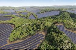 Rendering of the Kanoya Osaki Solar Hills Solar Power Plant in Japan.