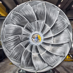 """Francis-Turbine for the hydro power plant Bratsk, Siberia. Awarded picture of the year and product image of the year at the German """"PR Bild Award 2014""""."""