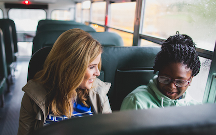 Jenna Bush Hager rides with students to Lilla G. Frederick Pilot Middle School in celebration of their adoption of cleaner, safer propane school buses. (Photo: Propane Education & Research Council)