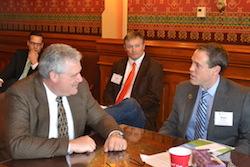 Chad Stone/IBB Chair/REG (far right), Grant Kimberley/IBB exec dir (Center) speak with Mark Smith (head of table), Iowa House Democratic Leader