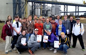 Sibley East High School students touring Heartland Corn Products.