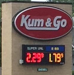 Kum and Go E85 price June 2016