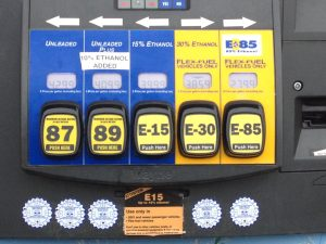Ethanol pump in South Dakota offering mid-level and high-level ethanol blends including E15, E30 and E85. Photo Credit: www.sdcorn.org