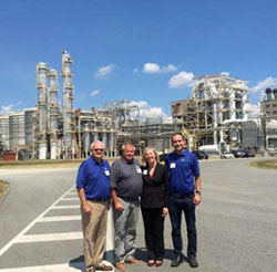 NCGA president Chip Bowling (left center) at Green Plains Virginia ethanol plant