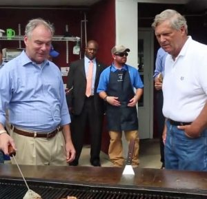 Democratic vice presidential candidate Sen. Tim Kaine at the Iowa State Fair with Agriculture Secretary Tom Vilsack