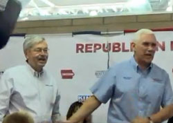 Republican VP candidate, Indiana Governor Mike Pence, with Iowa Governor Terry Branstad