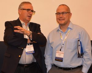 On the left, Jeff Roskam from Syngenta speaks with EcoEngineer's Jim Ramm during the 2016 ACE Ethanol Conference.