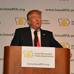 Donald Trump speaking at the Iowa Renewable Fuels Summit in January 2015. Next year's Summit will focus on the post election forecast. Photo credit: Joanna Schroeder